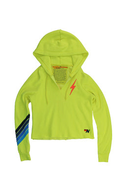 AVIATOR NATION BOLT STITCH CHEVRON SPLIT NECK PULLOVER CROP HOODIE - NEON YELLOW