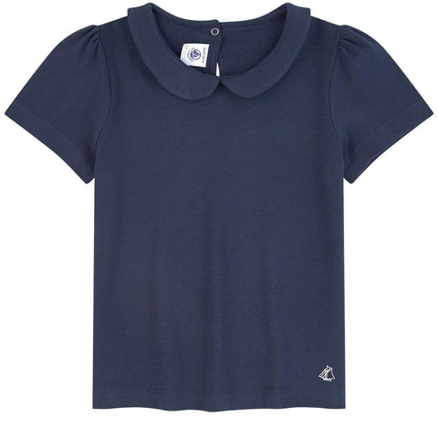 PETIT BATEAU Top with a Peter Pan collar - Navy