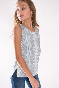 Tweenstyle High Lo Tank, Light Blue Snake