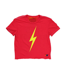 Aviator Nation Boyfriend Tee, Neon Red Bolt