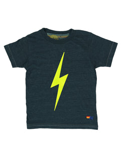 Aviator Nation Kids Bolt Tee - Charcoal with Neon Yellow