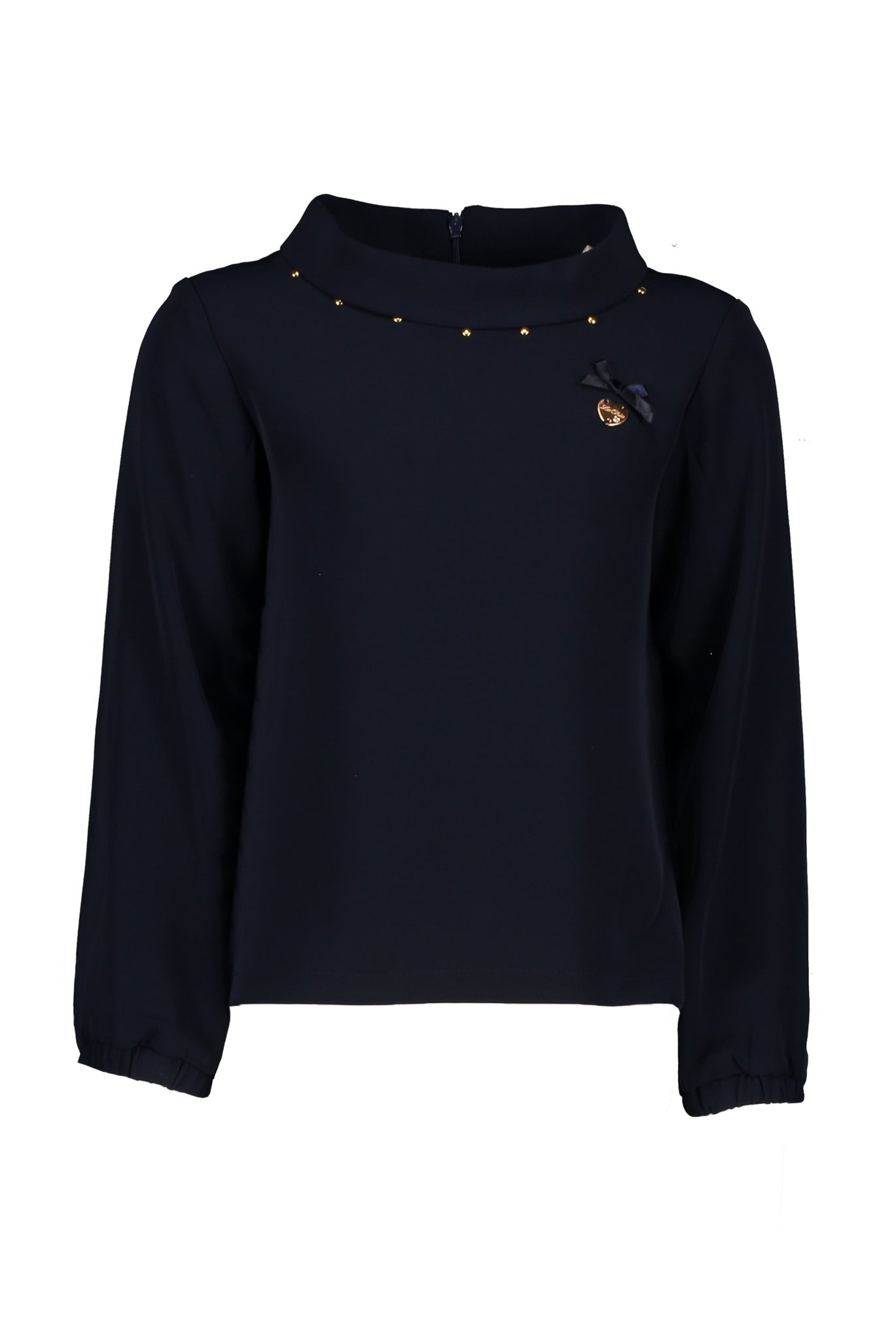 LE CHIC Girls Navy Mockneck Top