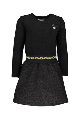 LE CHIC Girls Long Sleeve Dress with Leopard Skirt