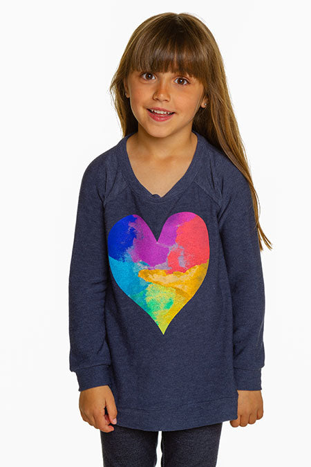 CHASER Girls Long Sleeve Heart Tee