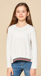 FOR ALL SEASONS Girls Long Sleeve Crew Neck with Striped Hem
