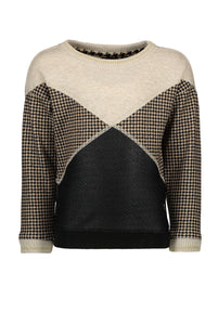 FLO Girls Houndstooth Colorblock Sweater