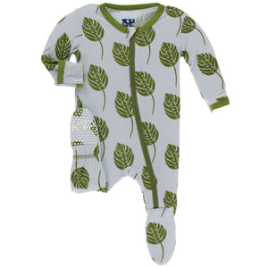 KICKEE PANTS FOOTIE WITH ZIPPER DEW PHILODENDRON