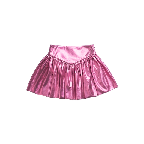Imoga Metallic Pleated Girls Skirt - Candy