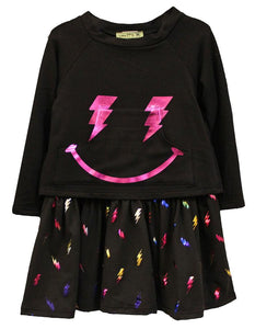 LITTLE MASS Girls Lightning Bolt Smile Dress