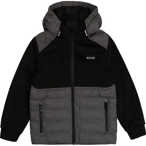 BOSS KIDSWEAR Grey/Black Jacket with Hood