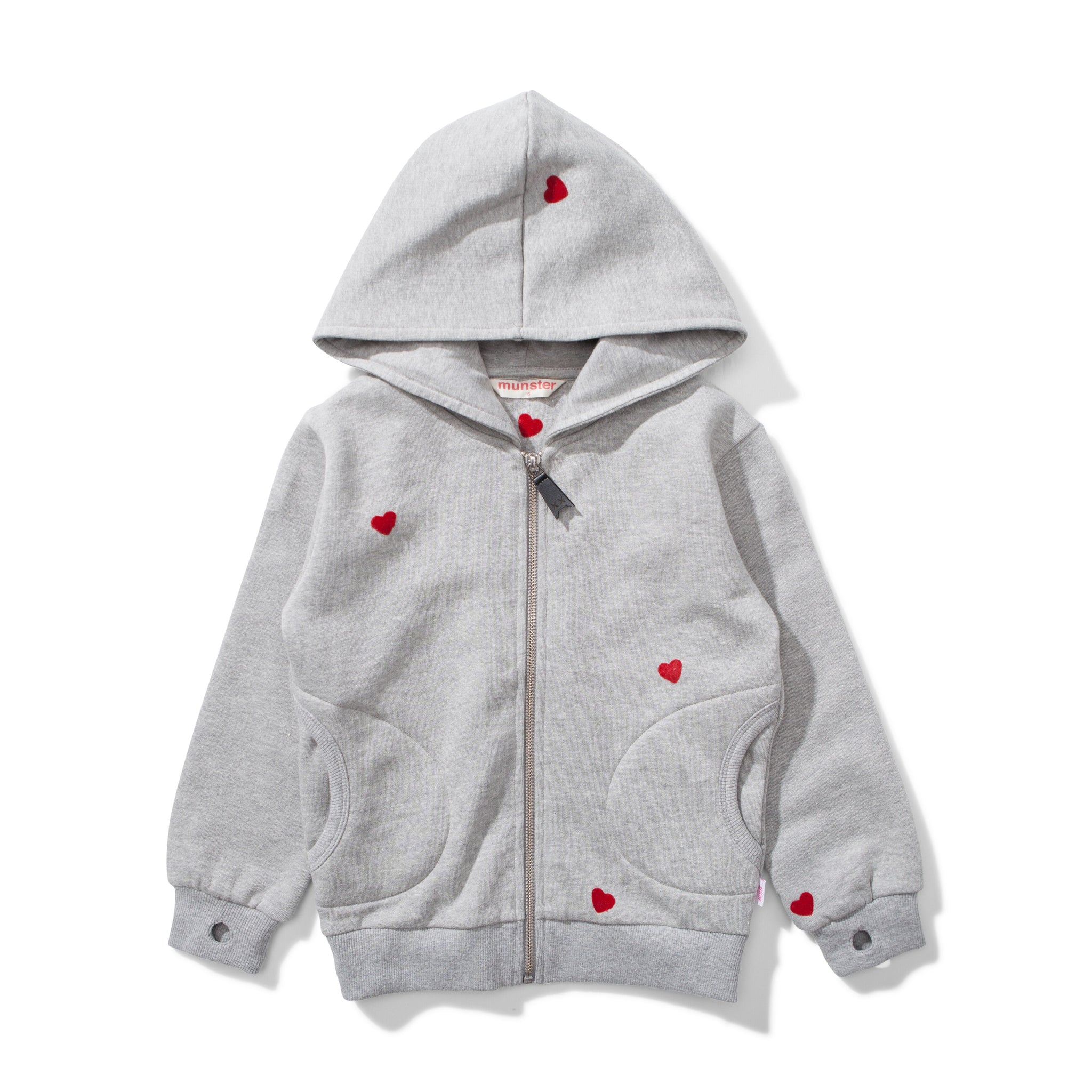 MUNSTER KIDS Girls Zip Up Hooded Sweatshirt with Hearts