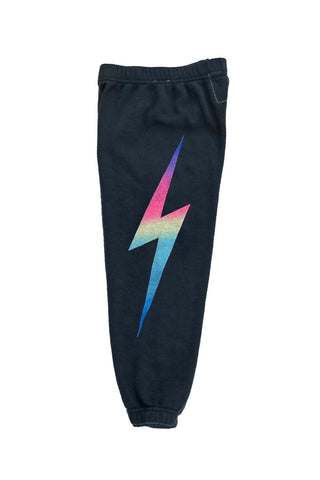 Aviator Nation - KIDS BOLT PRINT SWEATPANTS - CHARCOAL // RAINBOW PINK