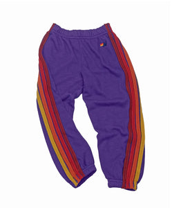 Aviator Nation KID'S CLASSIC SWEATPANTS - PURPLE // RED STRIPES