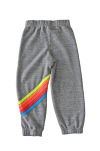 Aviator Nation - KID'S CHEVRON SWEATPANTS - HEATHER GREY // NEON RAINBOW