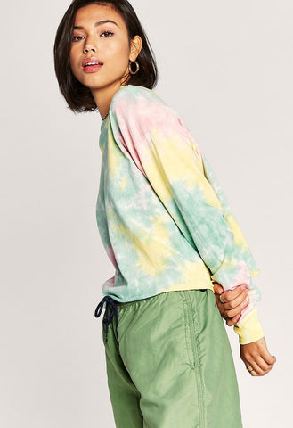 Daydreamer Tie Dye Long Sleeve Crop In Lily Pad