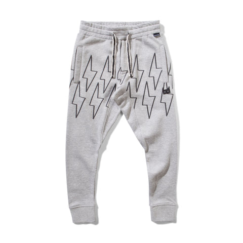 MUNSTER KIDS Grey Sweatpants with Lightning Bolts