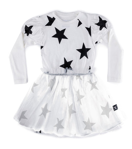 NUNUNU Girls Star Print Dress with Tulle Skirt