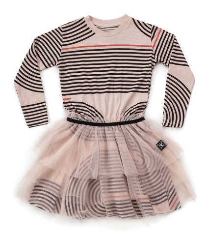NUNUNU Girls Striped Dress with Skirt