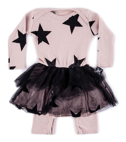 NUNUNU Girls Star Romper with Tulle Skirt