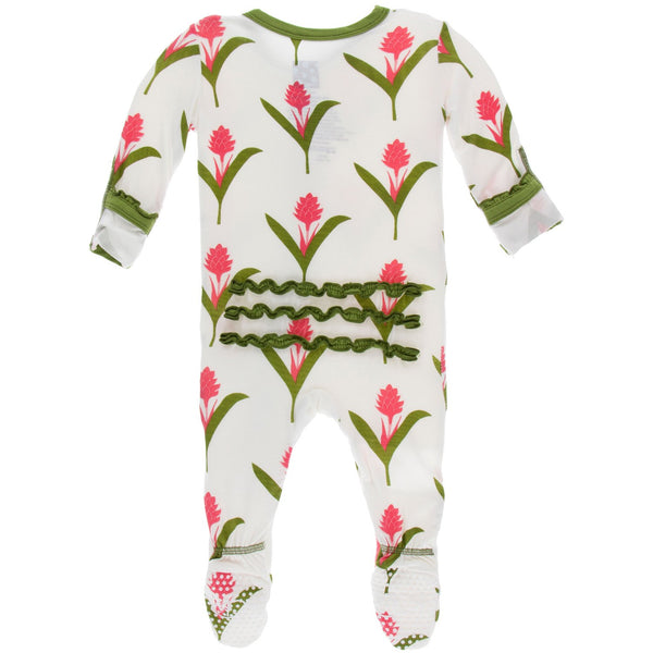 KICKEE PANTS MUFFIN RUFFLE FOOTIE WITH ZIPPER NATURAL RED GINGER FLOWERS