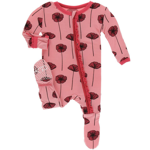 KICKEE PANTS MUFFIN RUFFLE FOOTIE WITH ZIPPER STRAWBERRY POPPIES