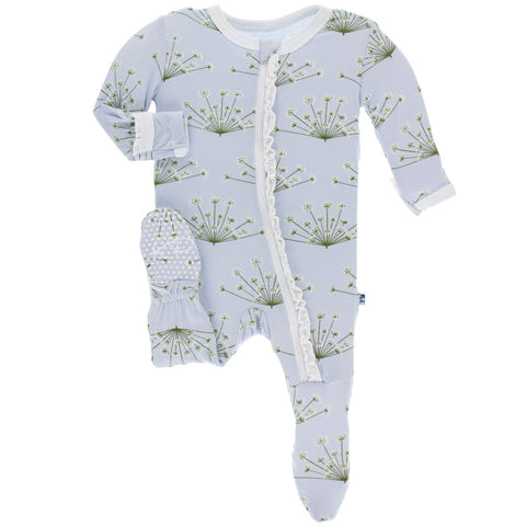 KICKEE PANTS MUFFIN RUFFLE FOOTIE WITH ZIPPER DEW DILL
