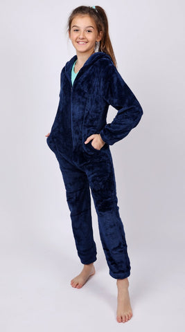 Candy Pink - Navy Fleece Onesie