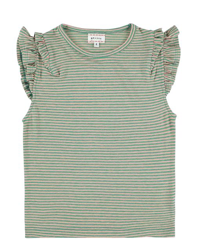 Morley Striped Ruffle Tank - Rose and Green