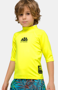 SUNDEK UPF 50+ CREW NECK RASH GUARD - Neon Yellow