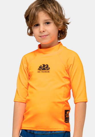 SUNDEK UPF 50+ CREW NECK RASH GUARD - Flash Orange
