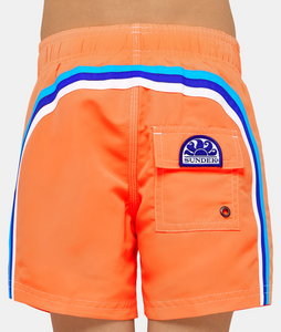 SUNDEK ELASTIC WAIST SWIM TRUNKS - Fluorescent Orange