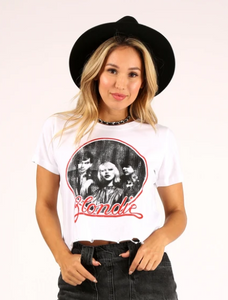 BLONDIE LOGO DISTRESSED CROP TOP