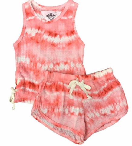 T2LOVE CORAL TIE DYE TANK WITH SIDE TIES