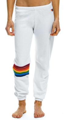 Aviator Nation WOMEN'S RAINBOW STITCH SWEATPANTS - WHITE