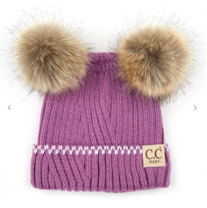 Solid Knit Double Pom Beanie for Infant Baby - Lavender/Ivory