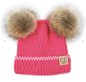Solid Knit Double Pom Beanie for Infant Baby - Candy Pink/Ivory