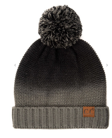 Black/Grey Ombre Pom Pom Hat