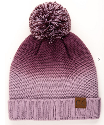 Purple Ombre Pom Pom Hat