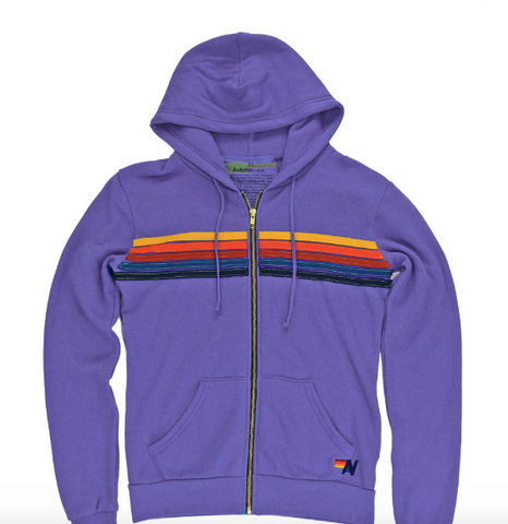 Aviator Nation - 5 STRIPE HOODIE - LAVENDER