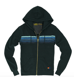 Aviator Nation - 5 STRIPE HOODIE - CHARCOAL/BLUE
