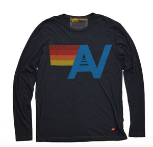 Aviator Nation - LOGO LONG SLEEVE CREW TEE - CHARCOAL