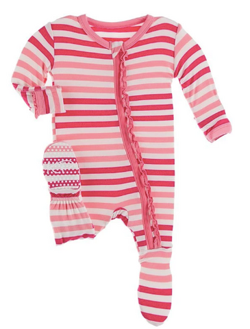 KICKEE PANTS MUFFIN RUFFLE FOOTIE WITH ZIPPER - FOREST FRUIT STRIPE
