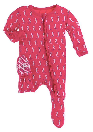 KICKEE PANTS CLASSIC RUFFLE FOOTIE WITH ZIPPER - PRICKLY PEAR MINI SEAHORSES