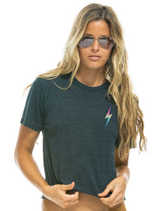 Aviator Nation - WOMEN'S SMALL BOLT BOYFRIEND TEE - CHARCOAL // RAINBOW PINK