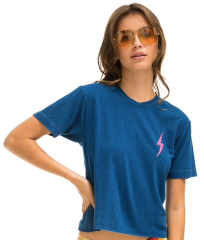 Aviator Nation - WOMEN'S BOLT STITCH BOYFRIEND TEE - VINTAGE CARIBBEAN