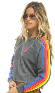 Aviator Nation - BOLT EMBROIDERY CLASSIC CROPPED CREW SWEATSHIRT - HEATHER // NEON RAINBOW