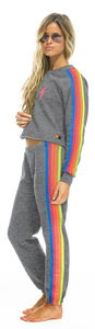 Aviator Nation - WOMEN'S 5 STRIPE SWEATPANTS - HEATHER GREY // NEON RAINBOW