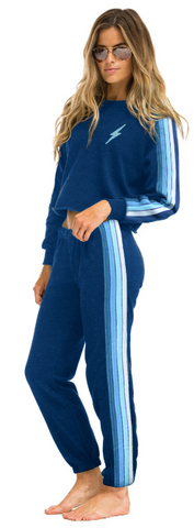 Aviator Nation - WOMEN'S 4 STRIPE SWEATPANTS - ROYAL // LIGHT BLUE
