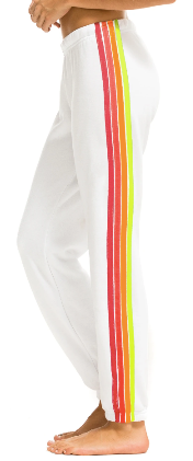 Aviator Nation - WOMEN'S 4 STRIPE SWEATPANTS - WHITE // NEON