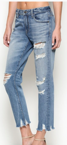HIDDEN Junior Girls Cropped Ripped Jeans